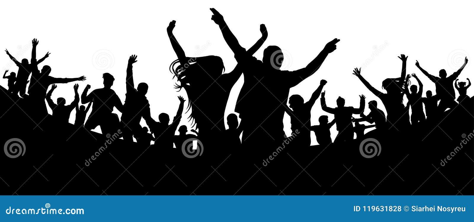 Partido, concerto, dança, divertimento Multidão de vetor da silhueta dos povos Juventude alegre