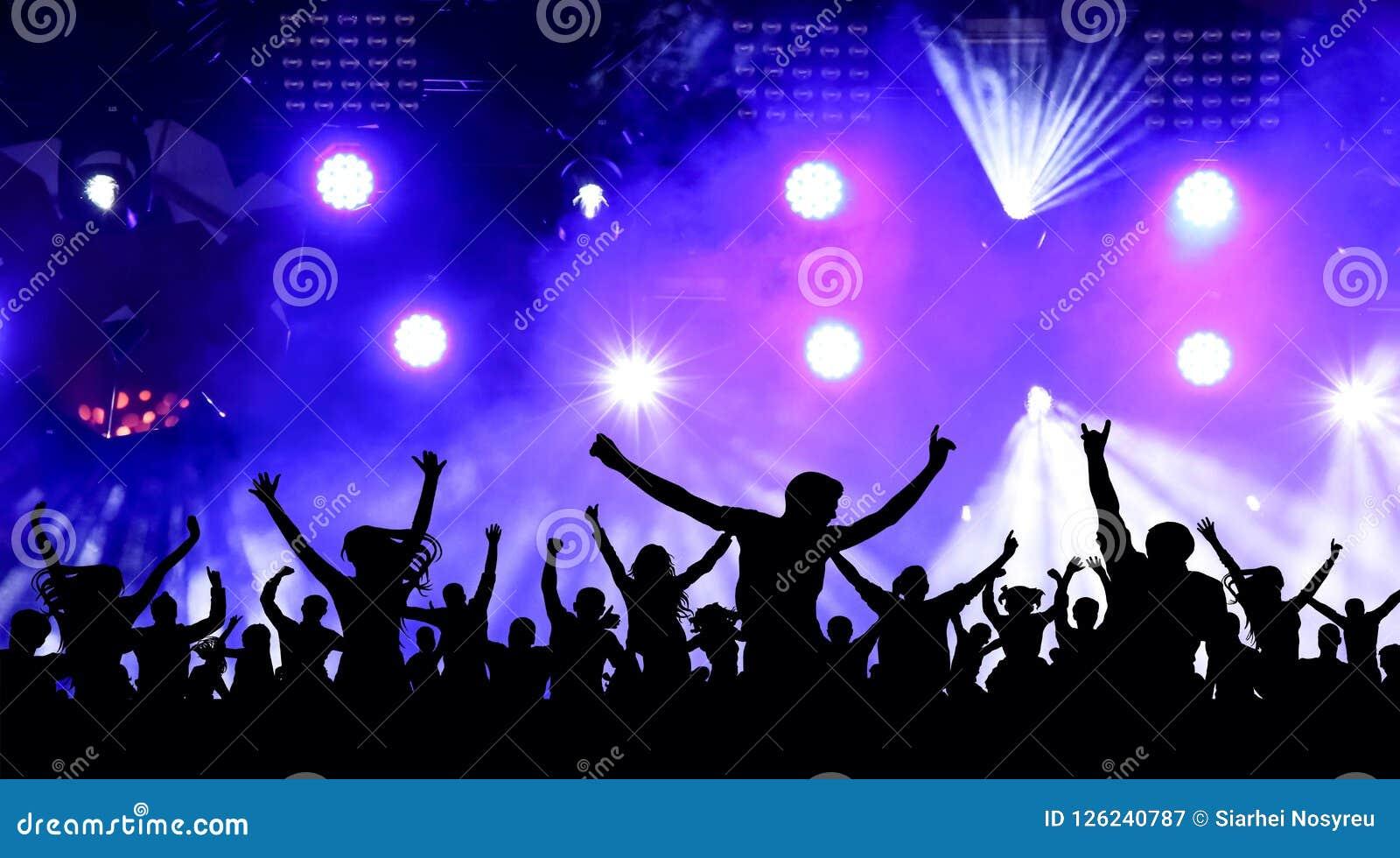 Partido da juventude da dança, ilustração Multidão de povos alegres em um concerto