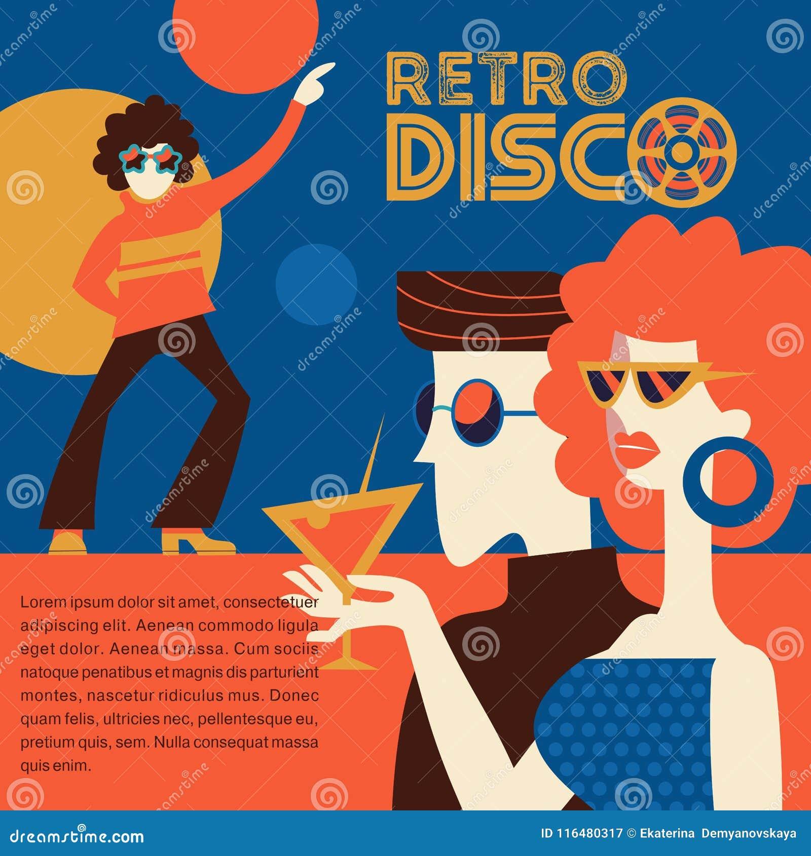 Partido de disco retro Ilustración del vector
