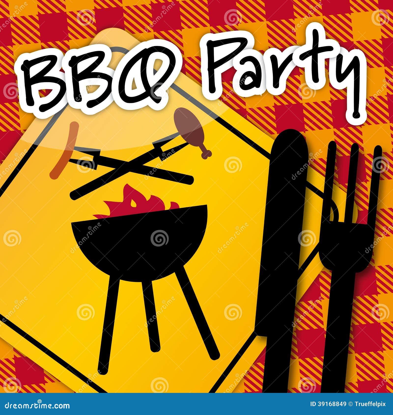 Partido De La Barbacoa Invitación Stock De Ilustración