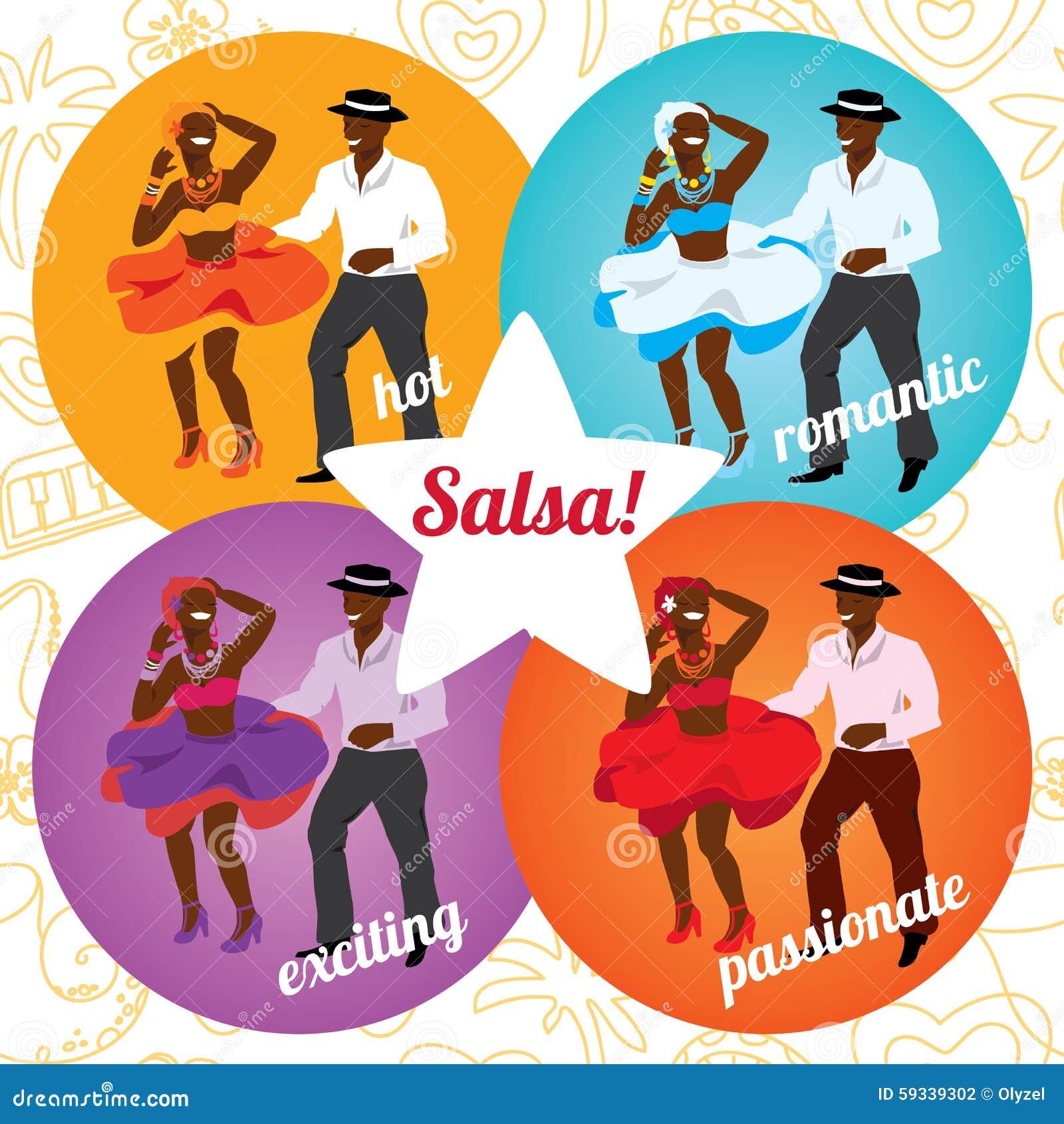 Partido De La Salsa O Cartel De La Escuela De Danza Con El Baile Ilustración Del Vector Ilustración De Moderno Fondo 59339302