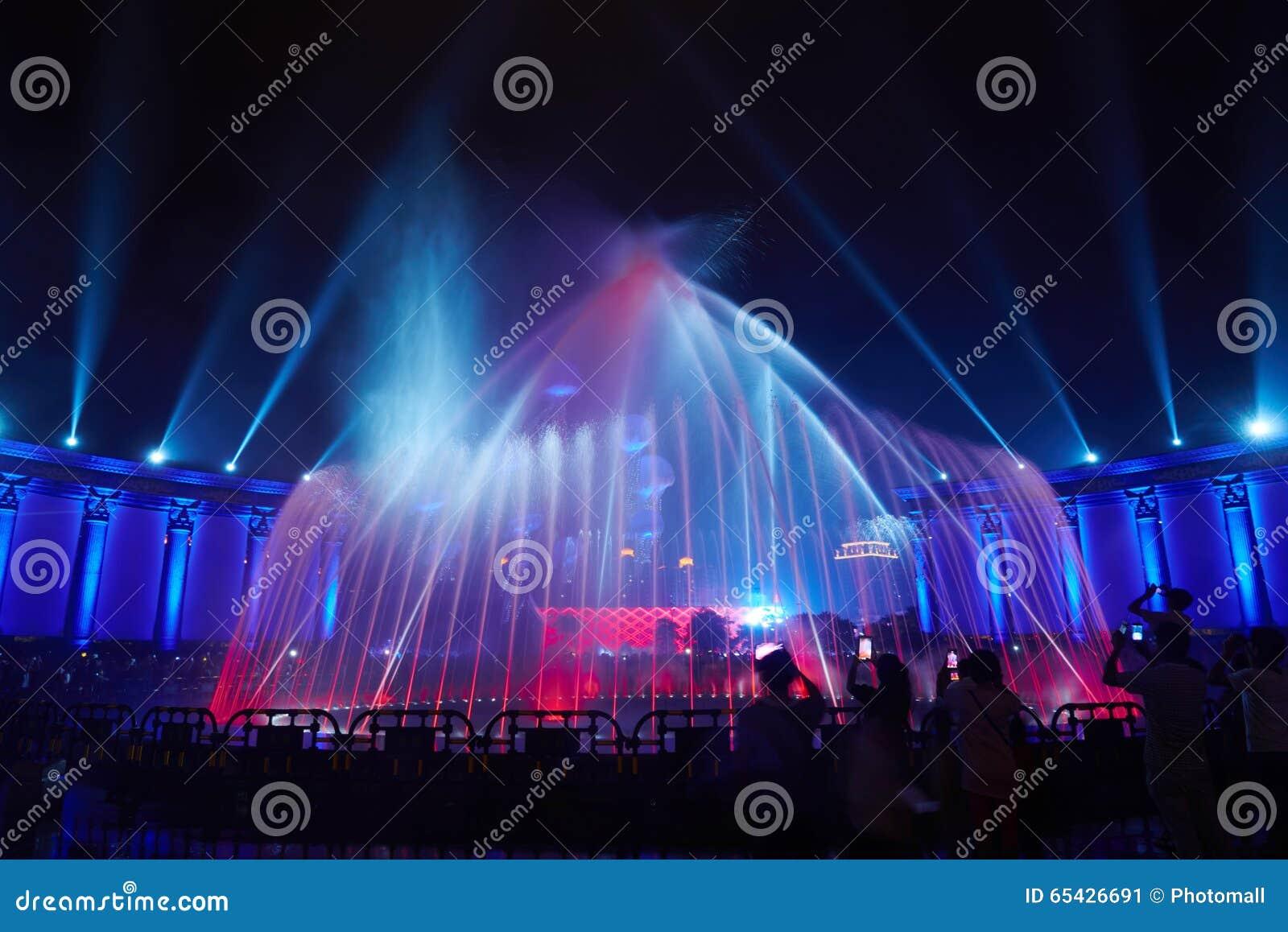 Partido do clube da mostra da iluminação da fonte da música