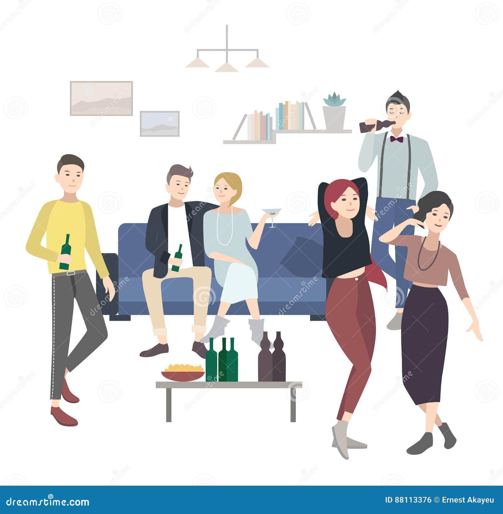 Partie à la maison avec la danse, personnes potables Illustration plate