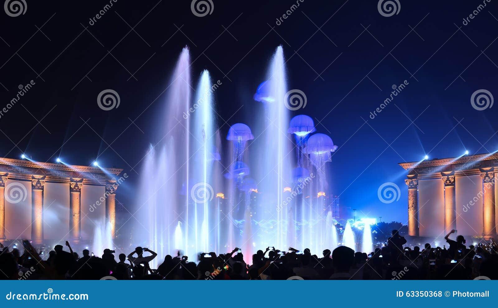 Partie d exposition d éclairage de fontaine de musique