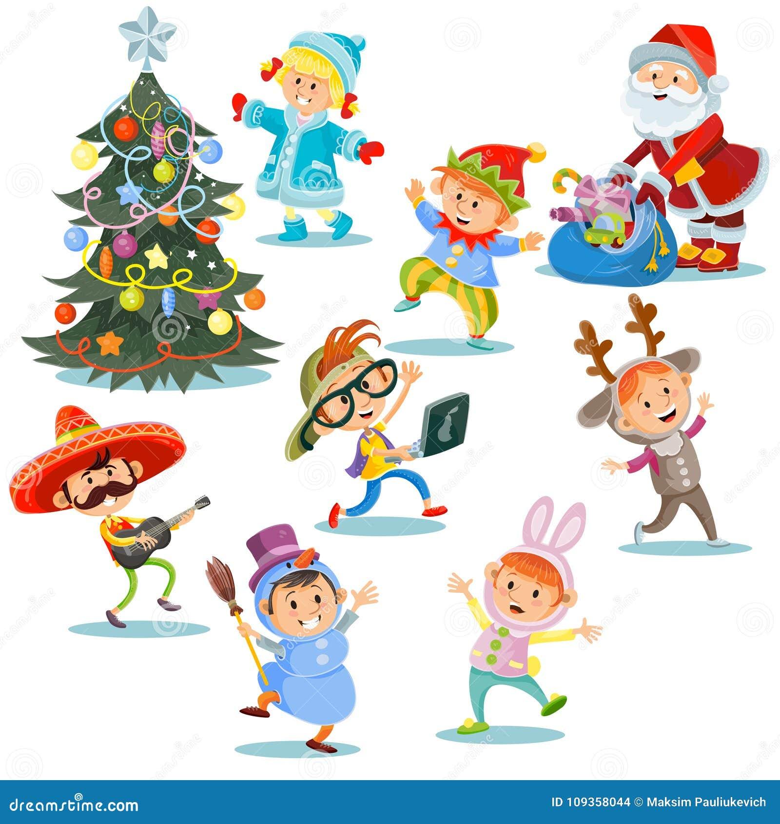 Partie de carnaval de Noël de vecteur, enfants de bande dessinée dans des costumes, Santa Claus avec des présents pour des enfant