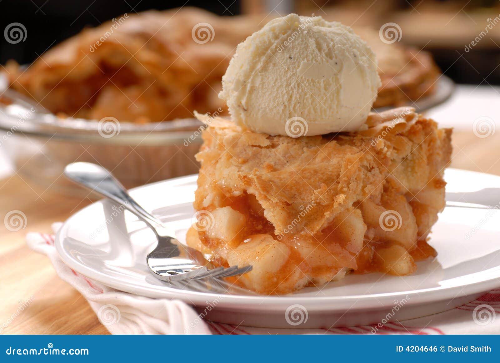 Partie de crème de secteur de pomme et de glace à la vanille