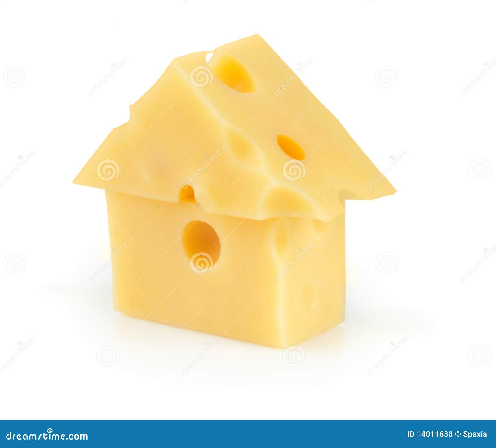 Partie de fromage poreux jaune