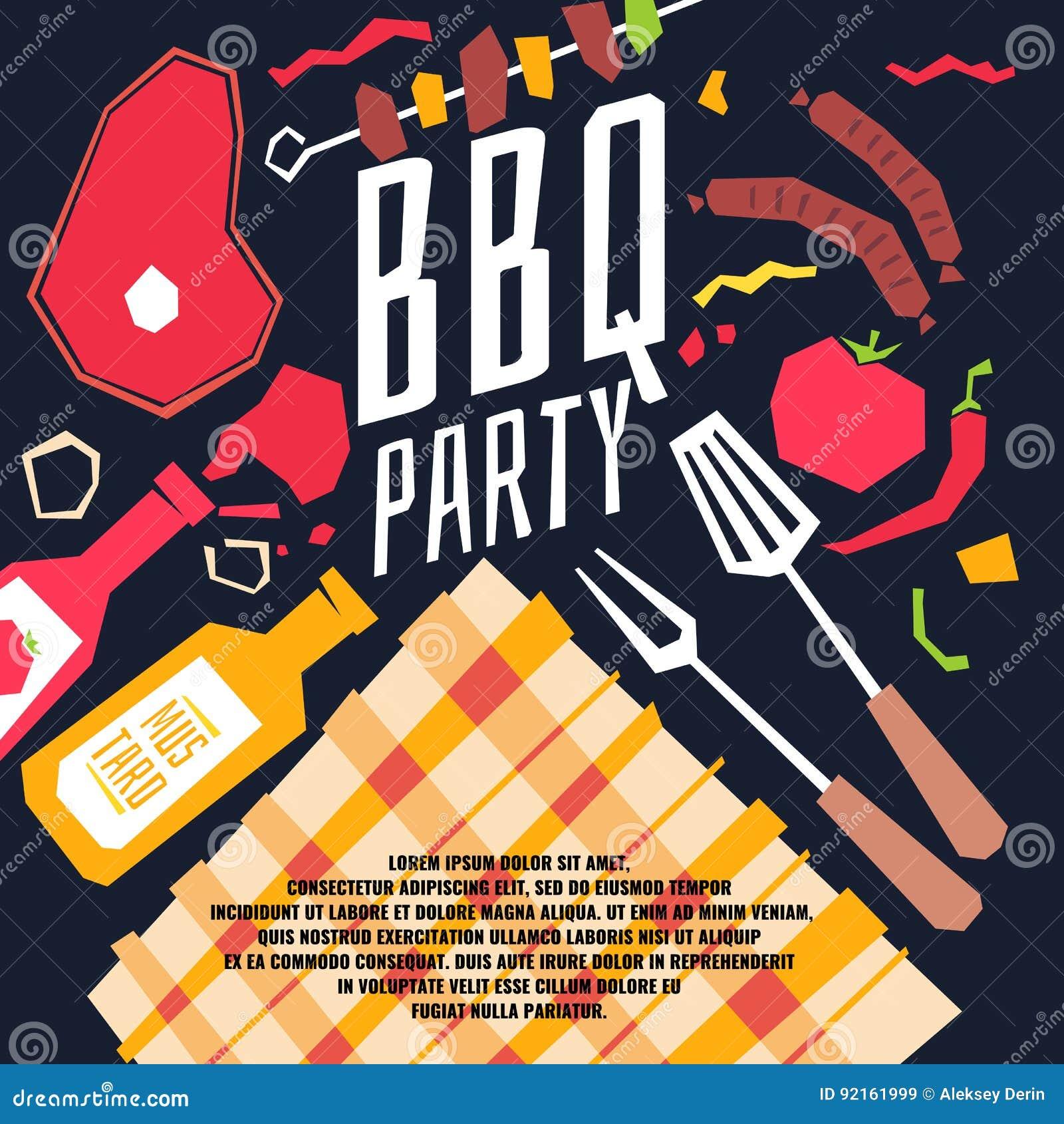 Partie moderne de BBQ d affiche avec une nappe à carreaux, barbecue, légumes