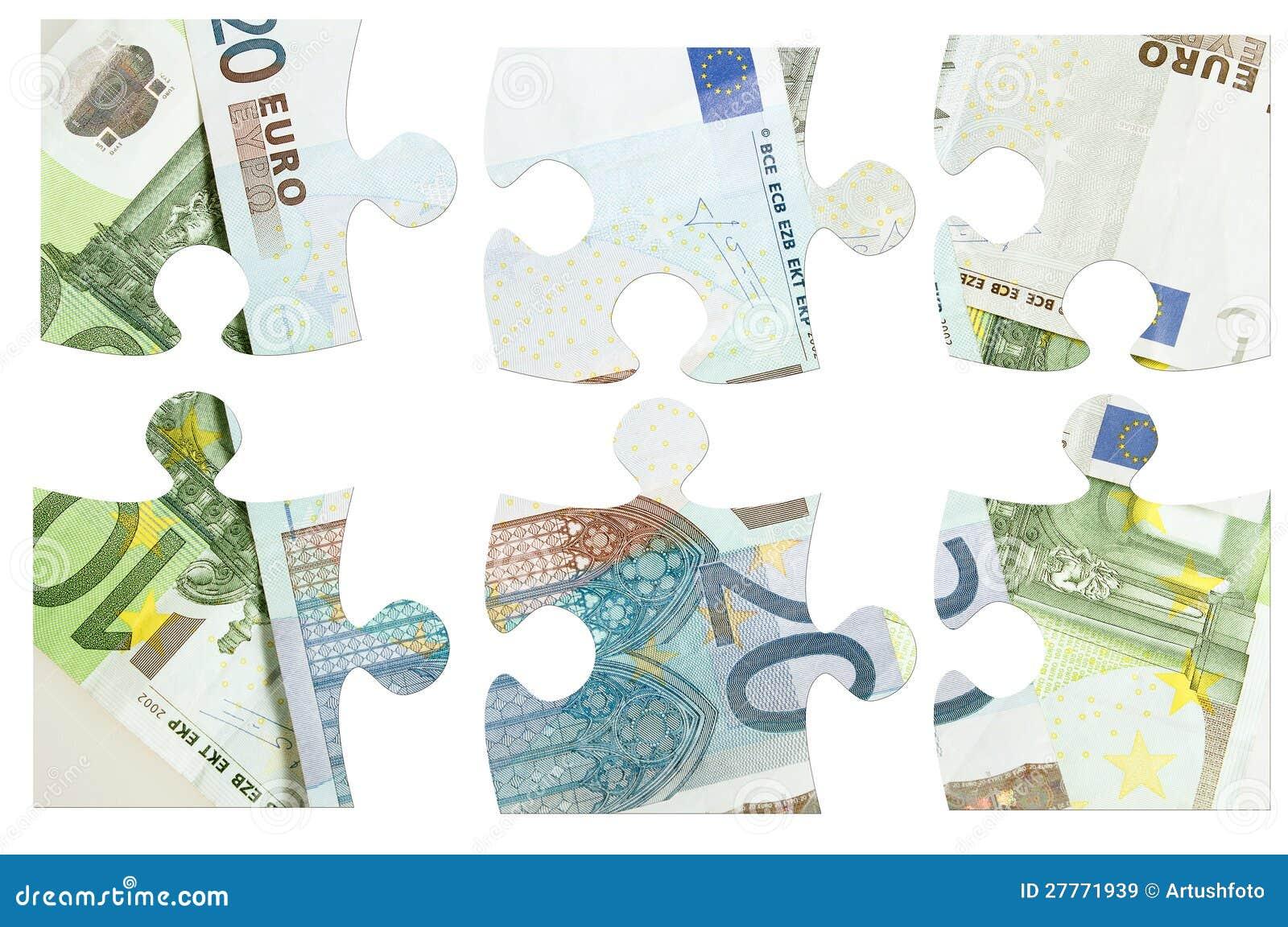 Parties d euro puzzle de billets de banque