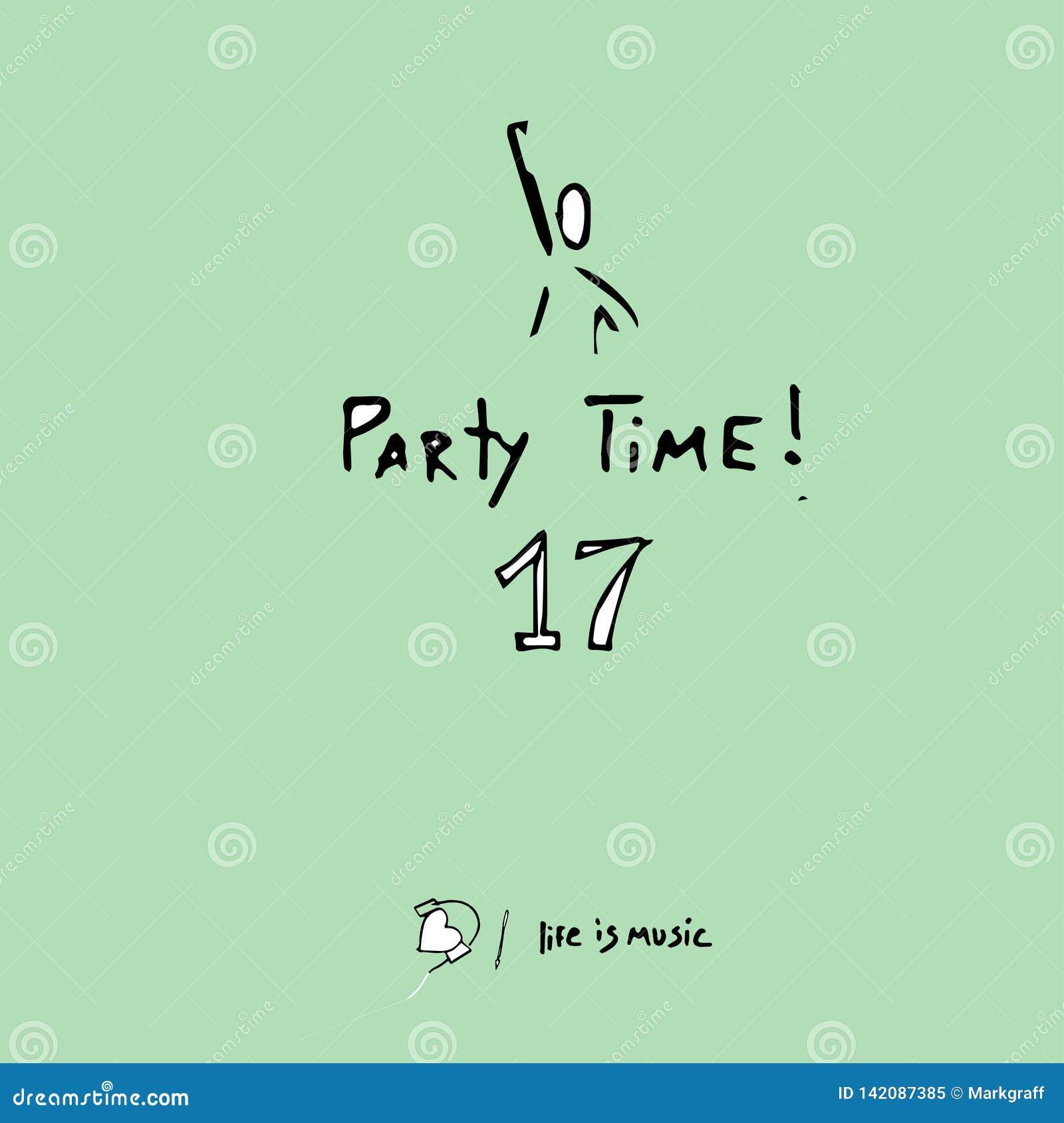 Partitid, utdragen vektorillustration f?r hand, manlig dans i en nattklubb och numret 17