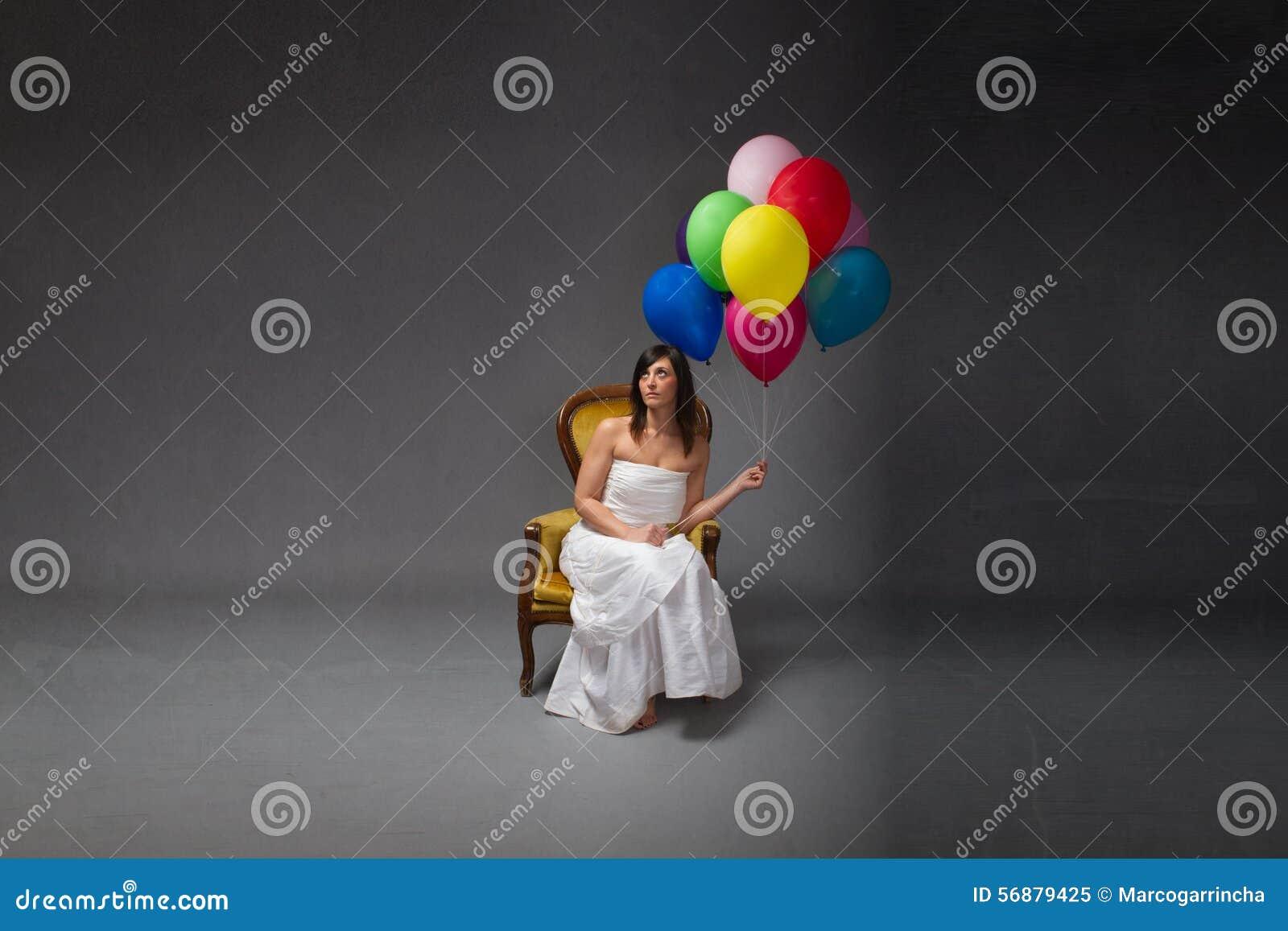 Partito della sposa con il pallone a disposizione