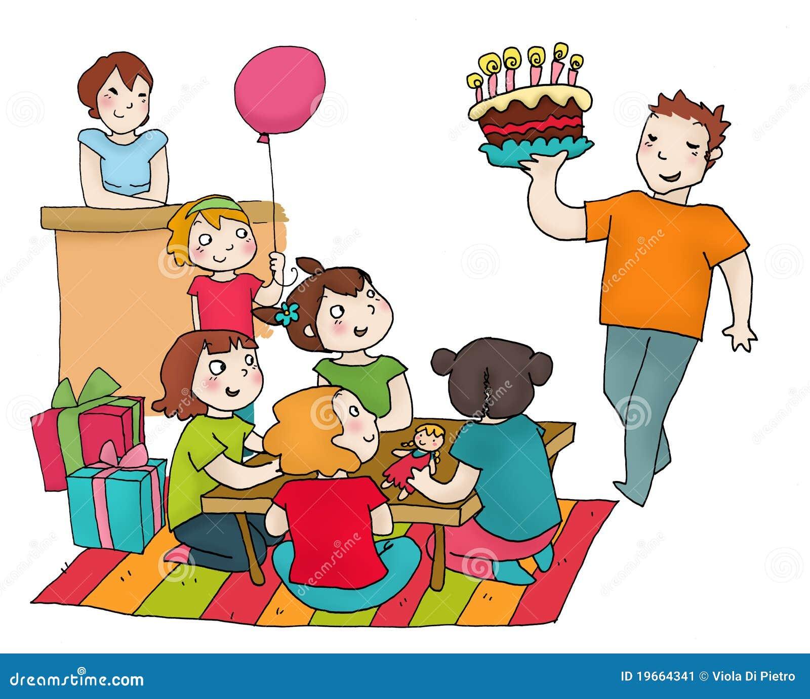 Partito di buon compleanno con gli amici