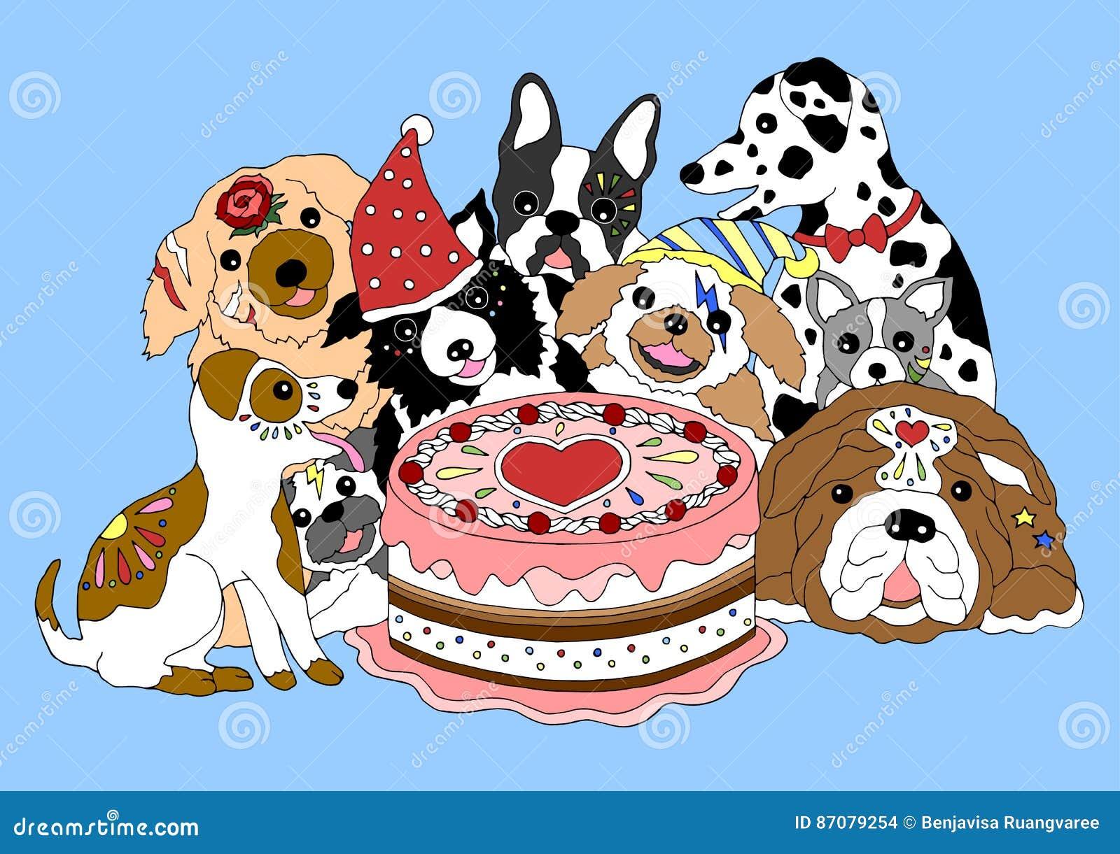 abbastanza Partito Di Buon Compleanno Dei Cani Con Il Grande Dolce  YB74