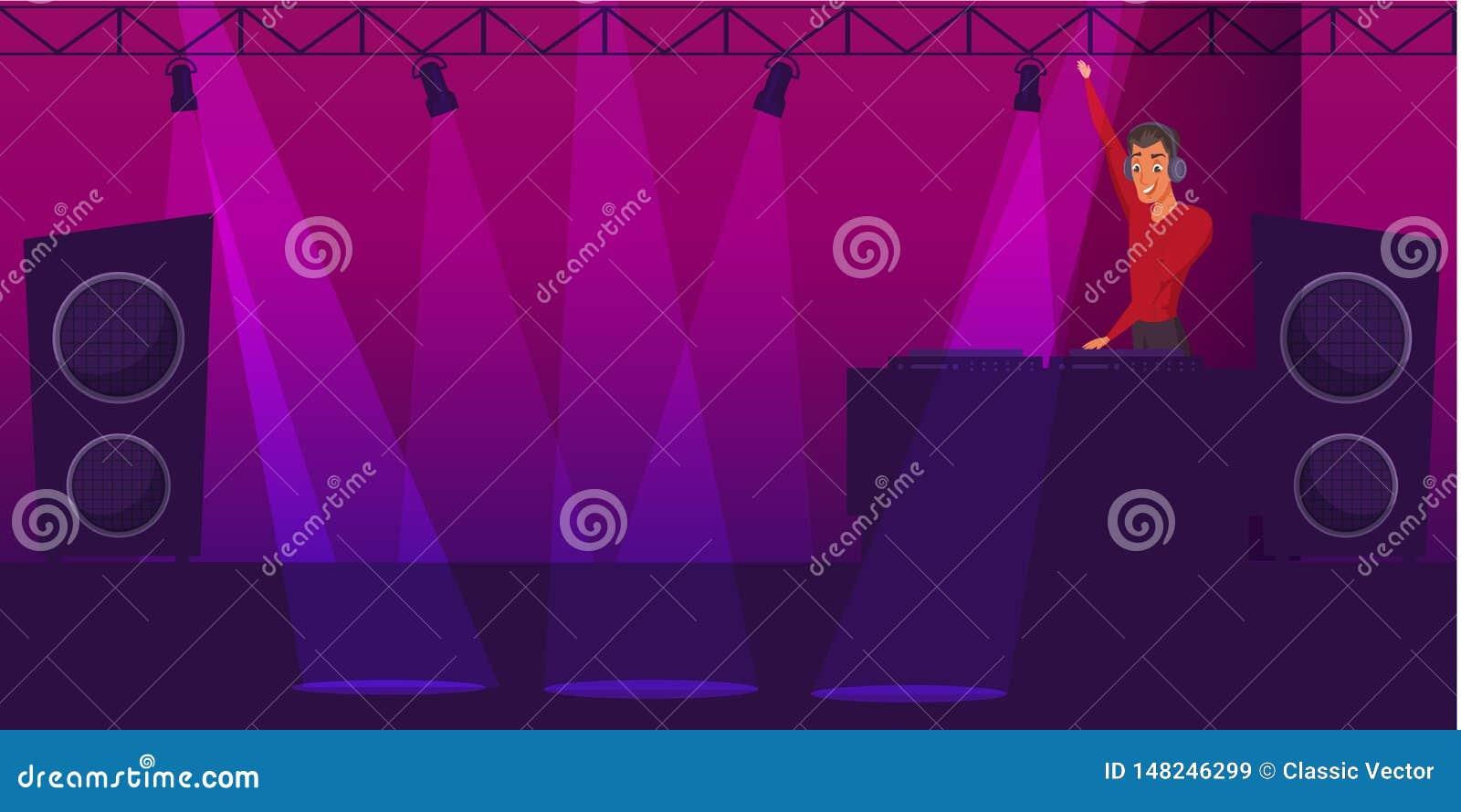 Partito, illustrazione di colore di vettore del fumetto della discoteca