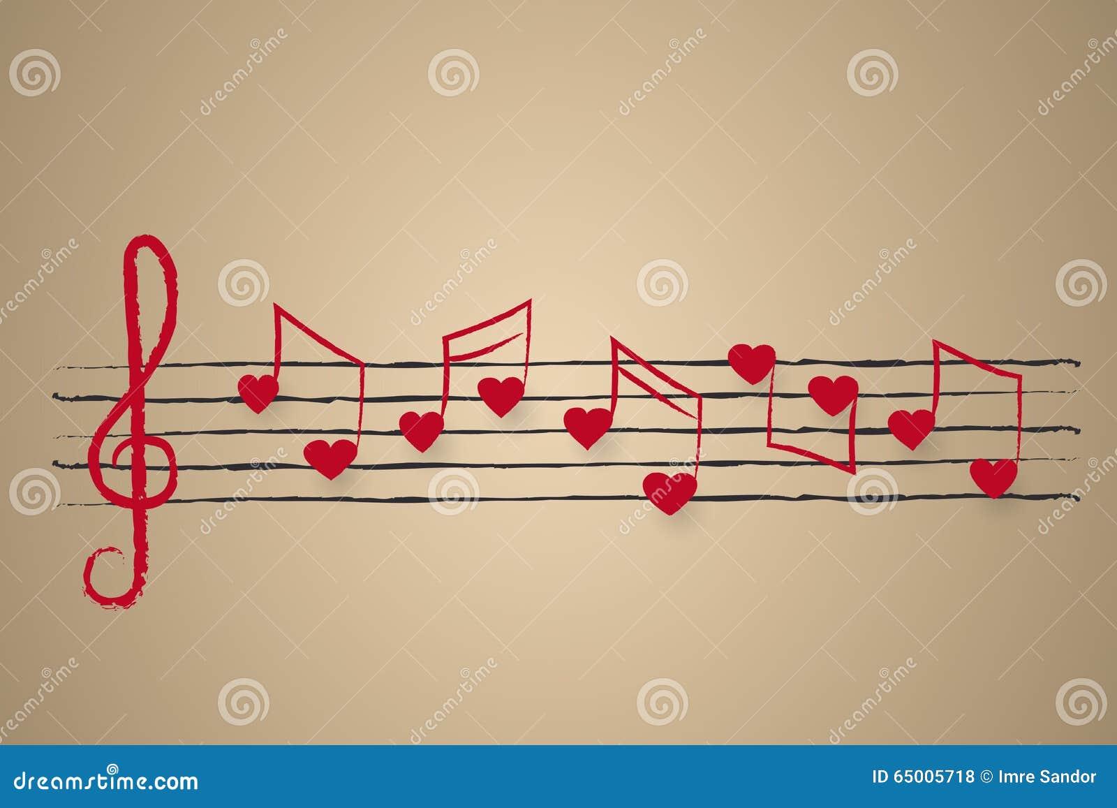 Partitura Con Las Notas Musicales En Forma De Corazón Stock De