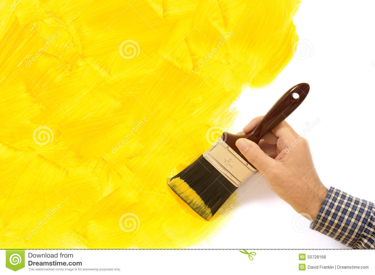 Painter And Decorator Prices >> House Painting And Decorating - Unfinished Painted Yellow Wall With Man Holding Paintbrush. Copy ...