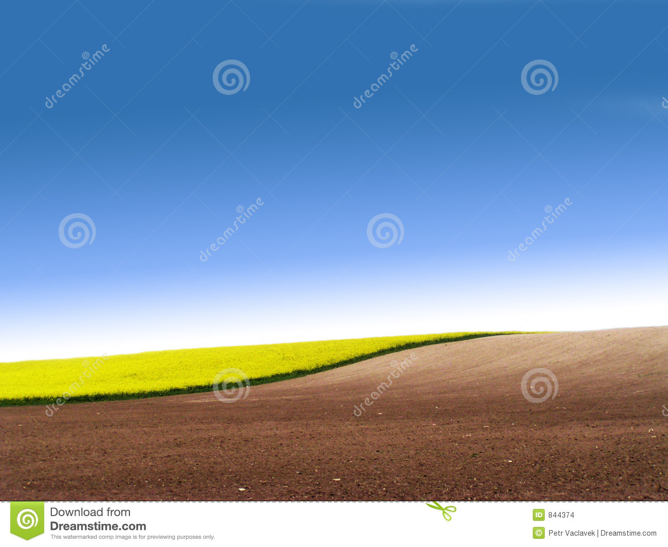 Partly ploughed field with