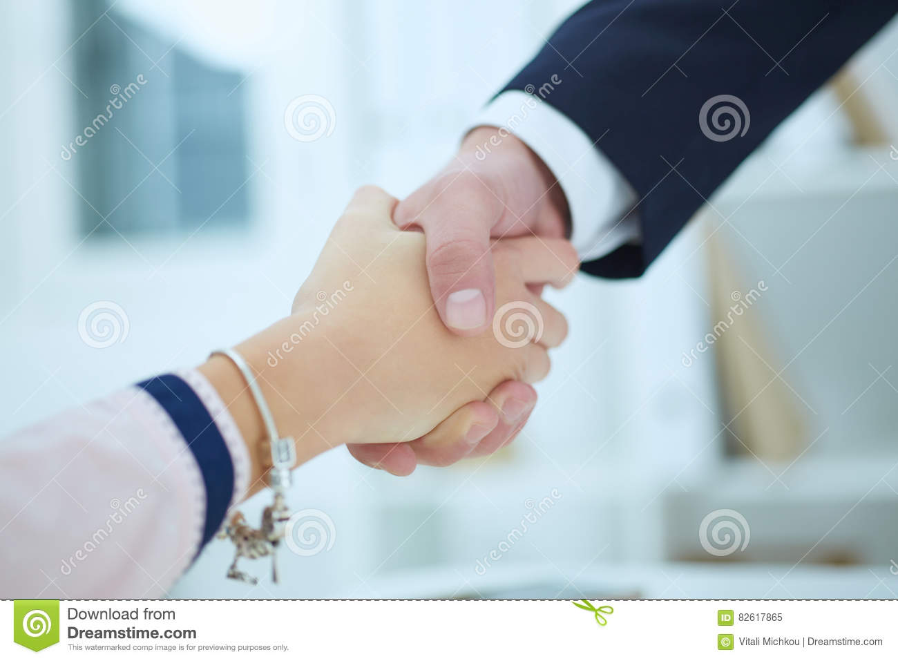 Partners Made Deal Sealed With Handclasp Formal Greeting Gesture