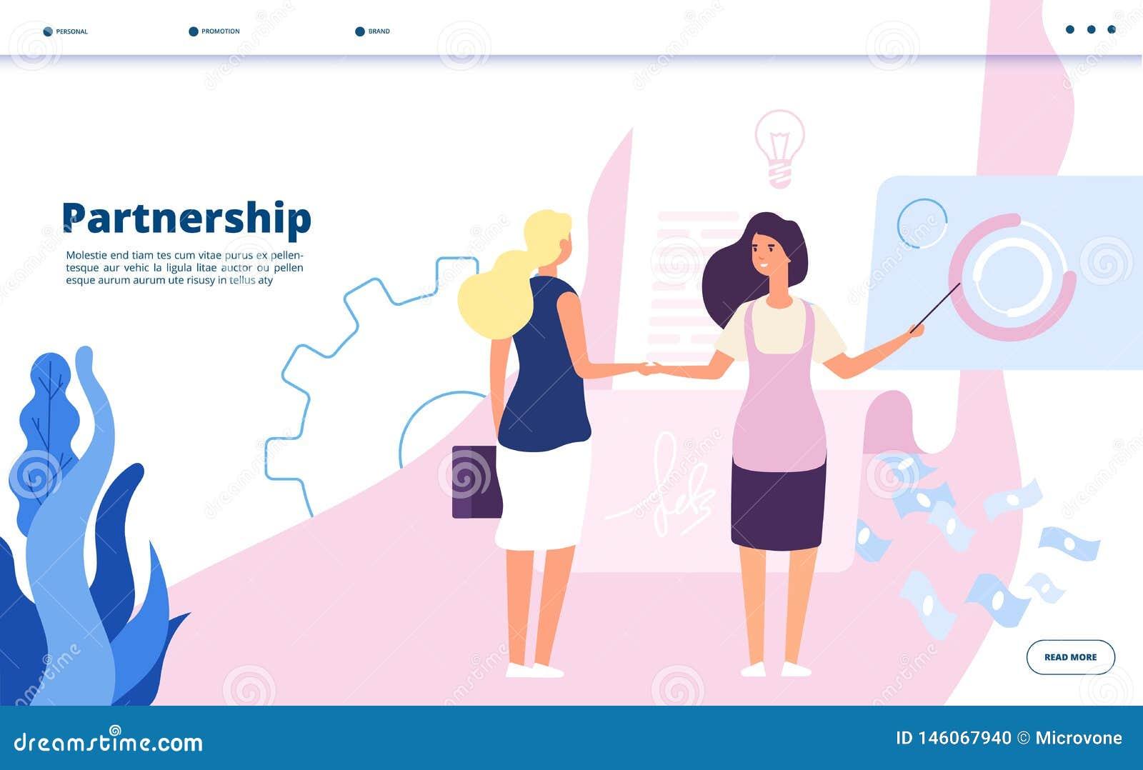 Partnerschaftslandung Unternehmensplanpartnerschaftsführerfirmengeschäftsvereinbarungsstrategiestartzusammenarbeitsvektor