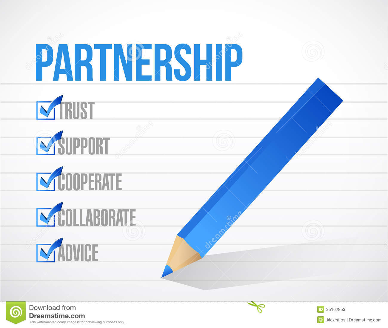 Partnership Check List Illustration Design Stock Photos - Image ...