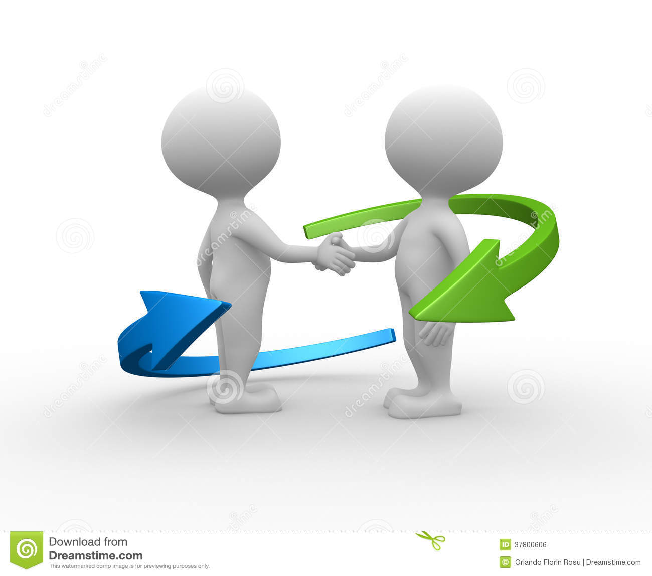3d people - men, person shaking hands and an arrows. Partnership.