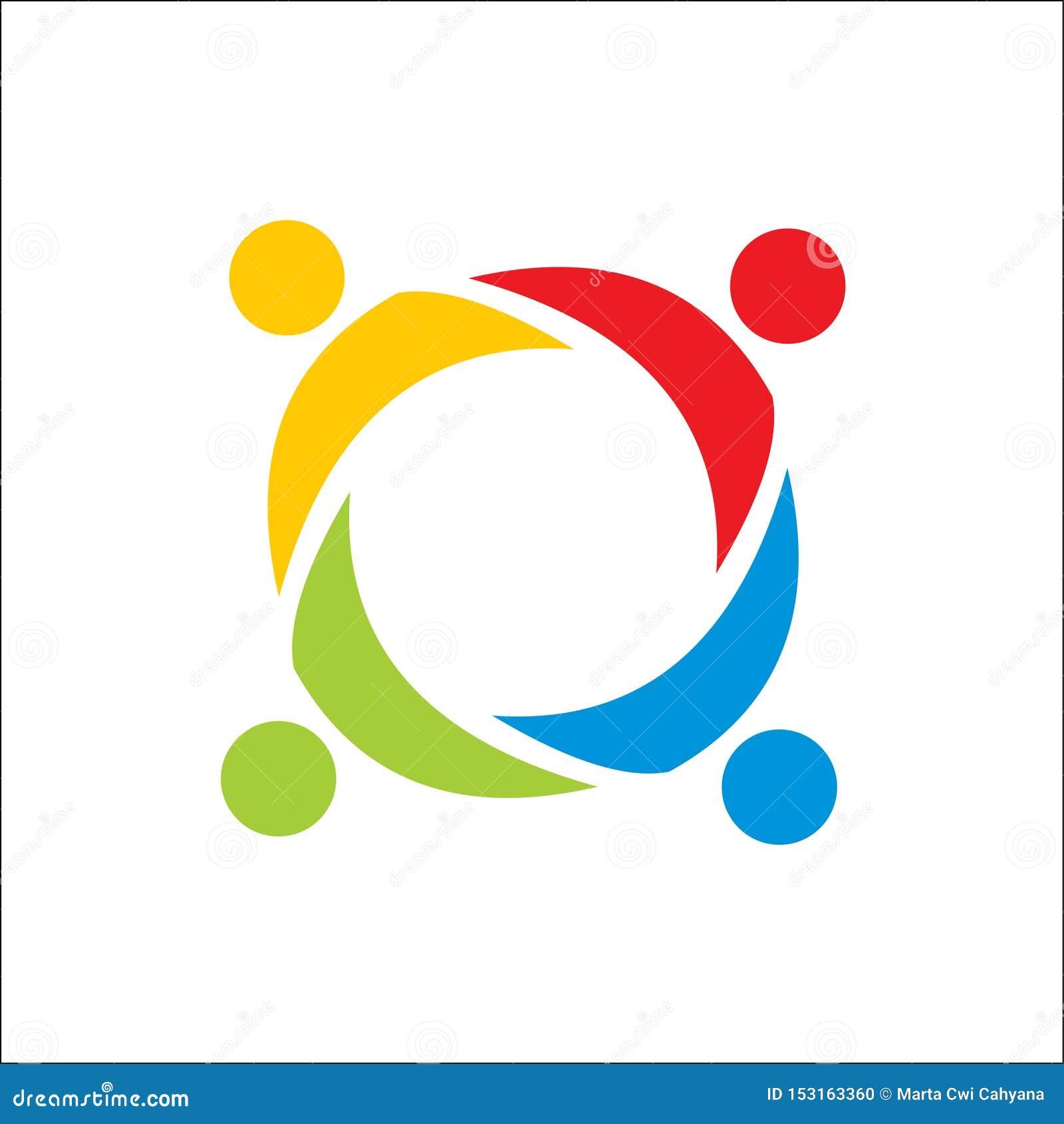 Partnerskap folkteamwork, mall för vektor för gemenskapfolklogo