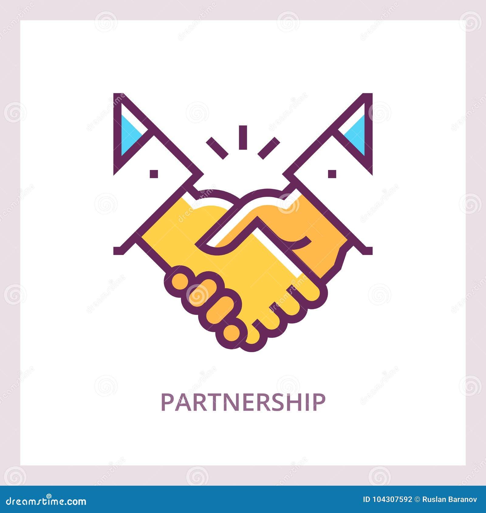 Partnerskapsymbol Handskakningbegrepp Linjär pictogram för vektor