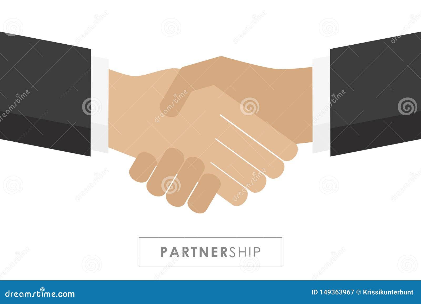 Partnerstwo mi?dzy dwa biznesmen?w u?ciskiem d?oni