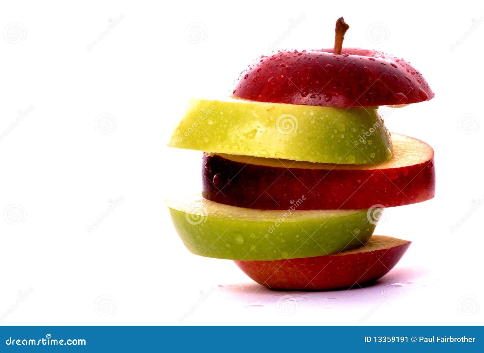 Parts d Apple en rouge et le vert
