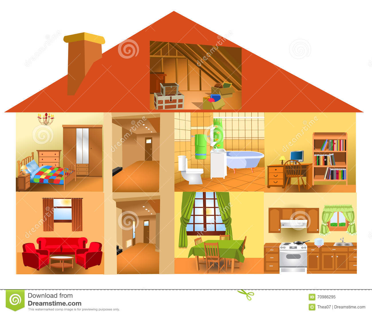 Parts of the house stock vector. Image of computer, house ...