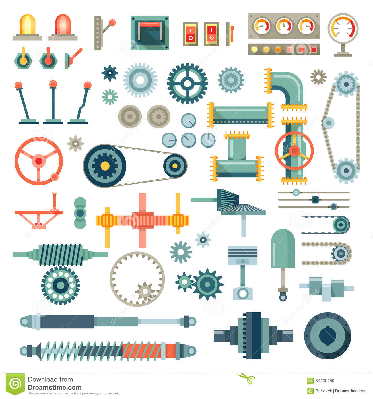 Tractor Parts Icon : Industrial construction equipment and machinery flat