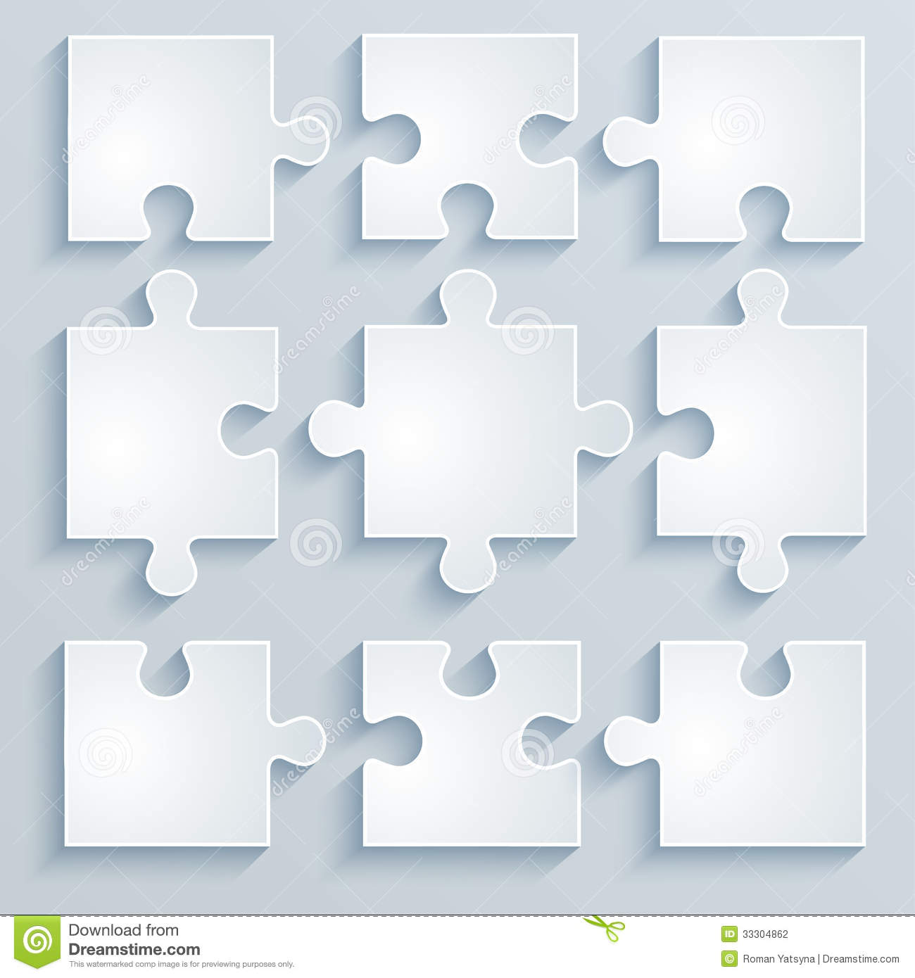 Parts of paper puzzles business concept template layout