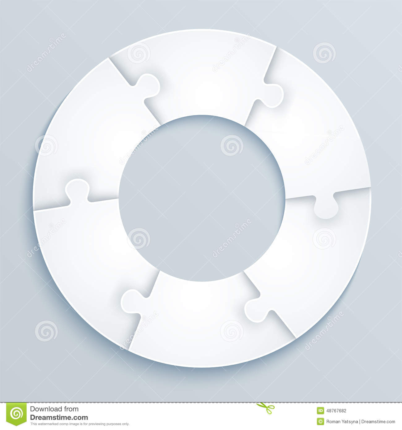 Parts Of Paper Puzzles In The Form A Circle 6 Pieces
