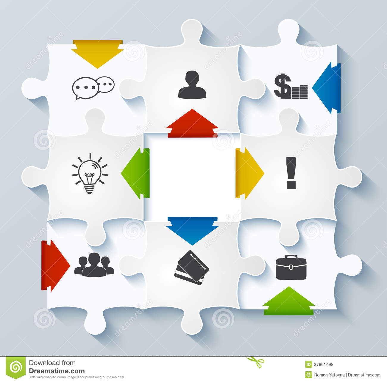 Parts Puzzles With Icons Business Concept Infogr Stock