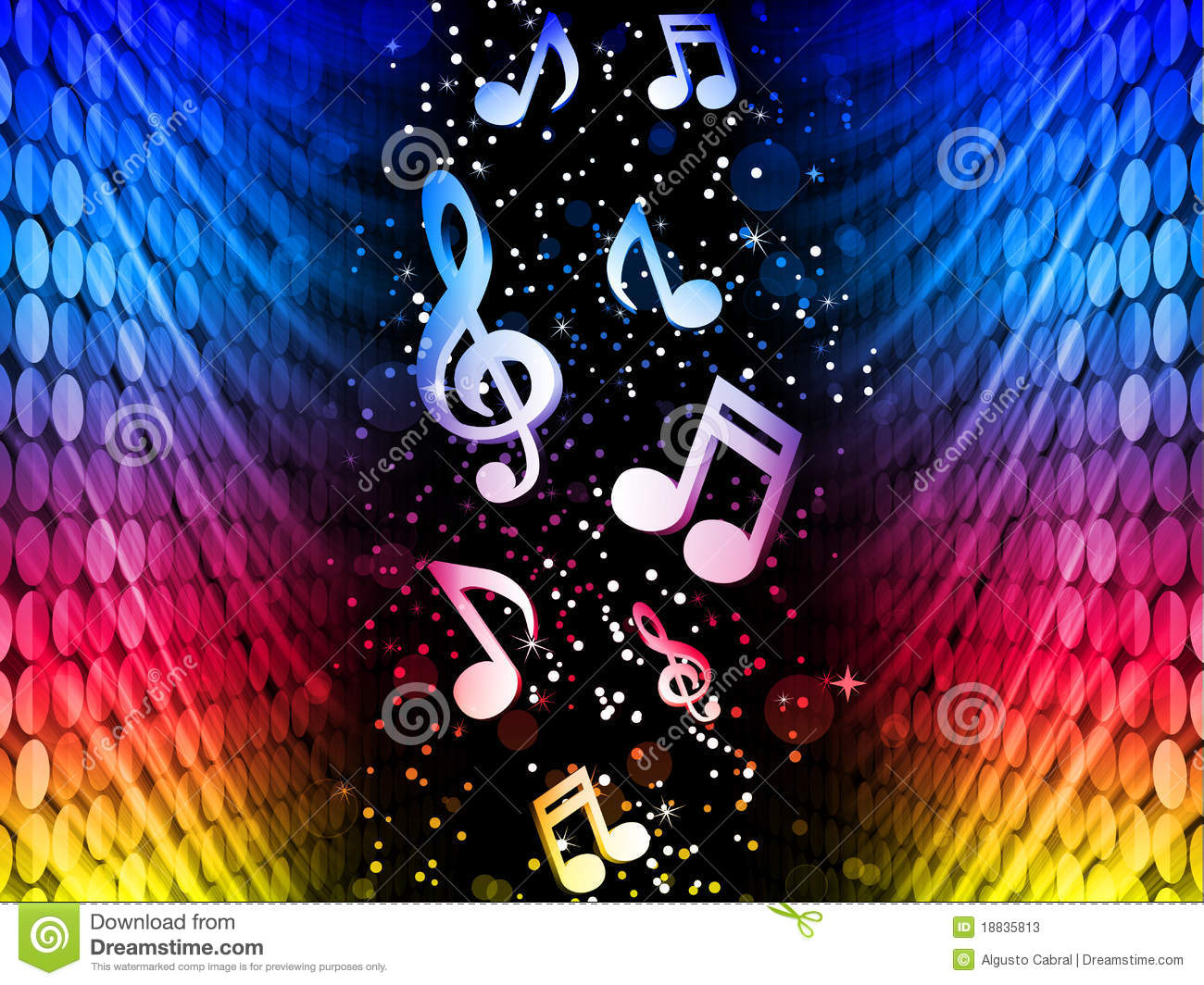 Party Abstract Colorful Waves Background Music Not