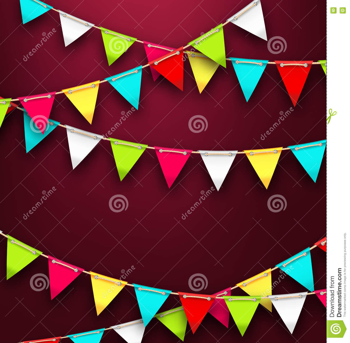 Party Background With Colorful Bunting Flags For Holidays Stock