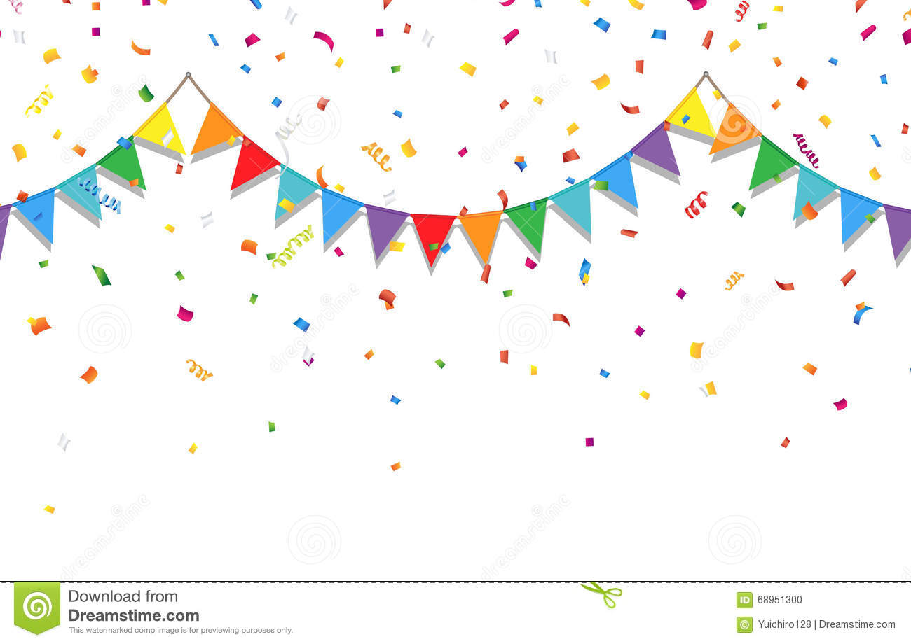 Party Background With Colorful Flags And Confetti Stock
