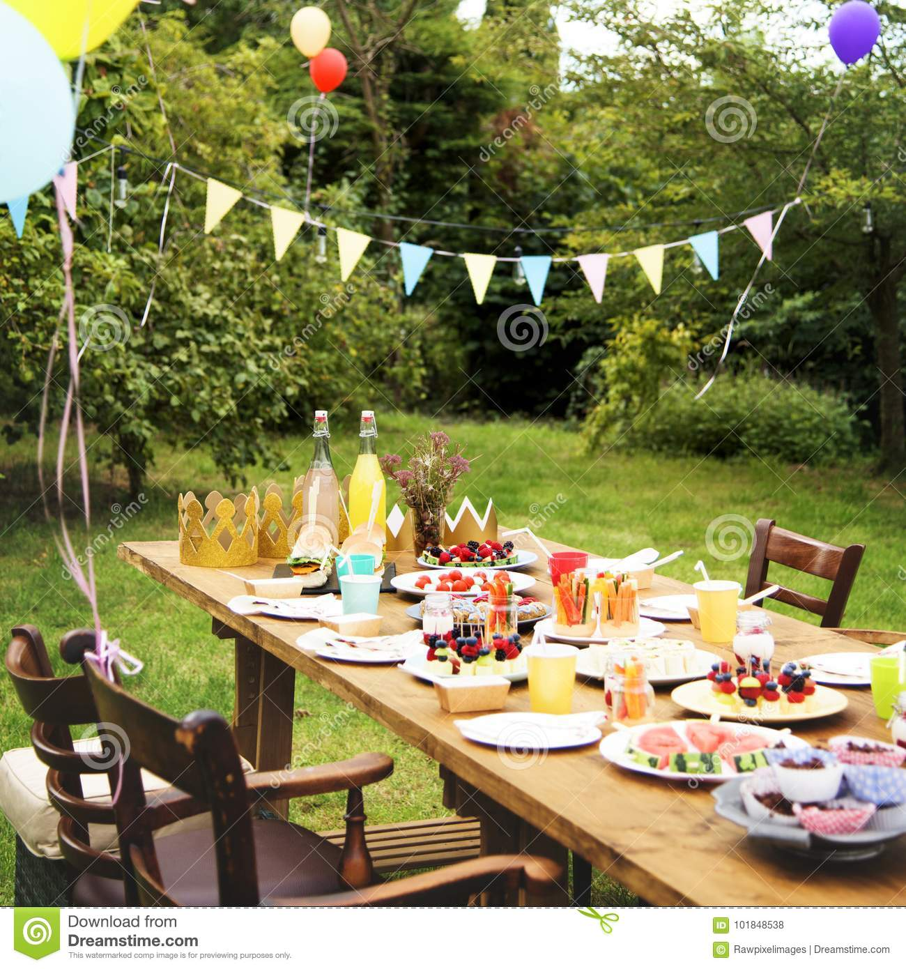 Party In The Backyard Stock Photo Image Of Food Holiday 101848538