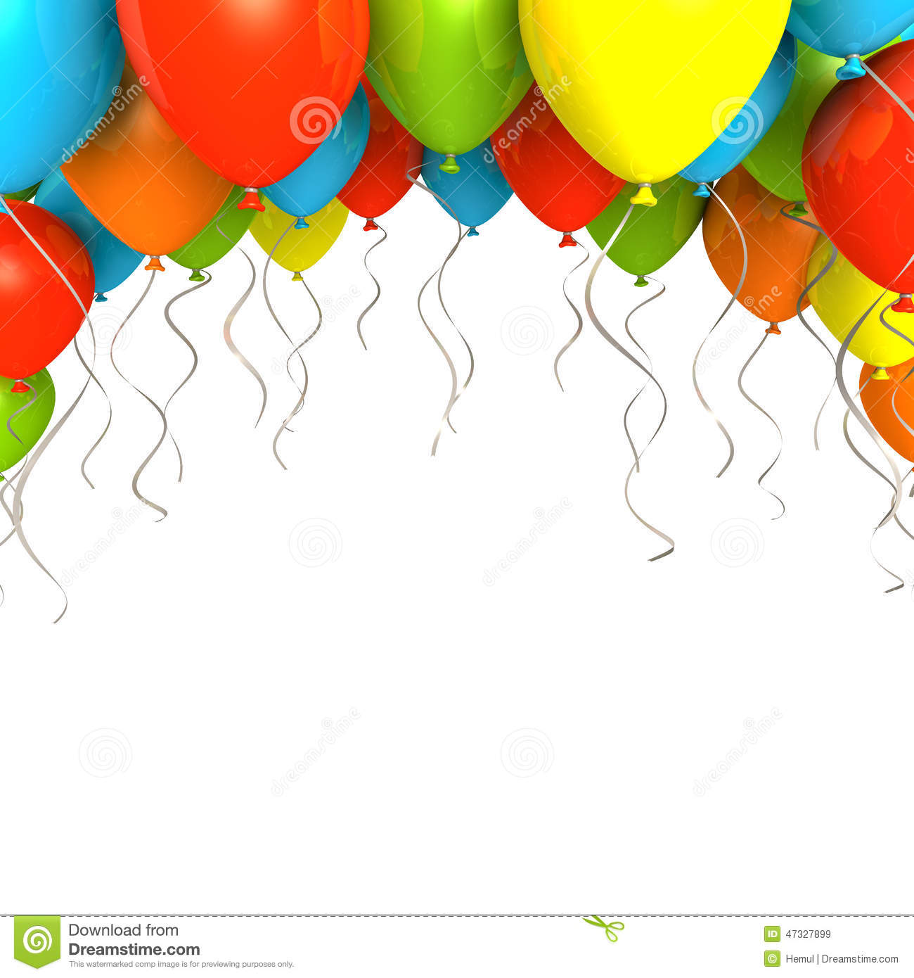 Party Ballons On White Background Stock Illustration - Image: 47327899