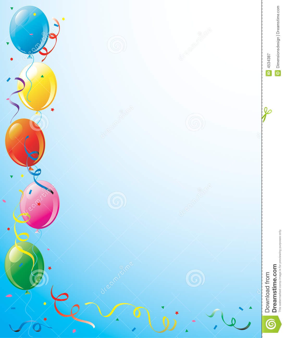 Balloons And Confetti Border Stock Image - Image: 14168281