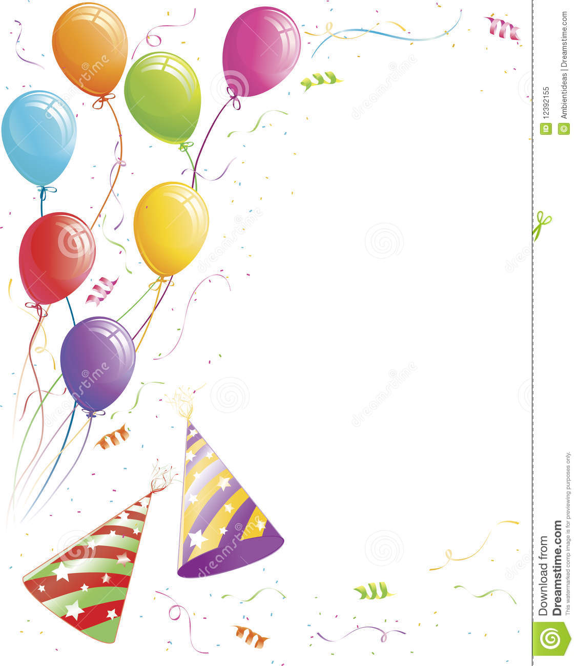 Party Balloons And Confetti With Striped Hats Royalty Free Stock