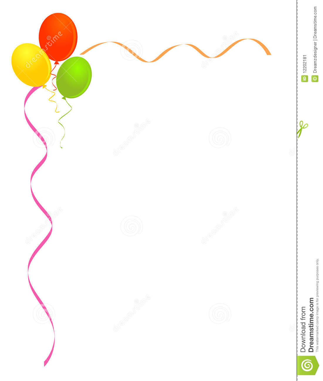 Party Balloons Frame Border Stock Image - Image: 12202181