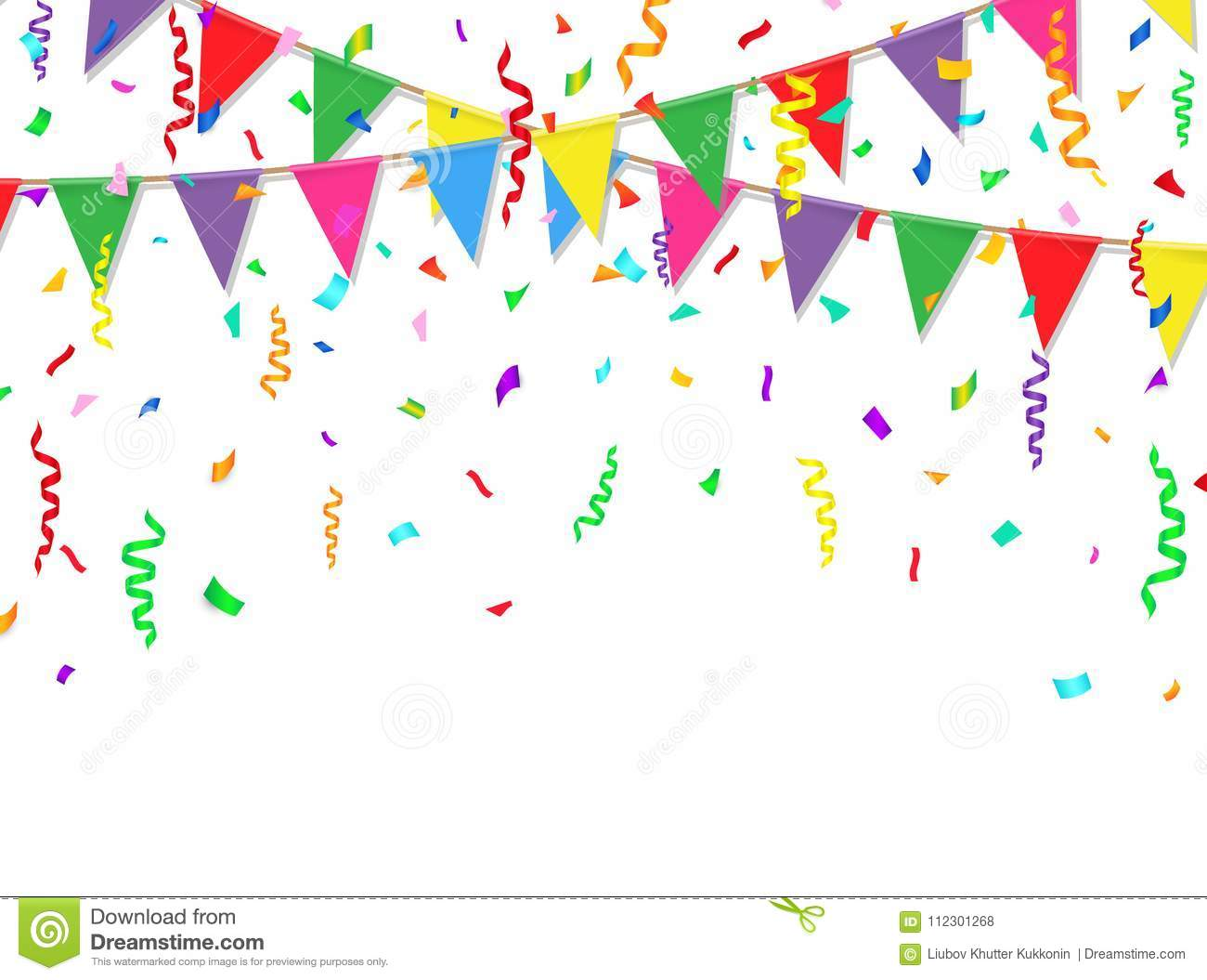 party banner with colorful flags and confetti vector illustration