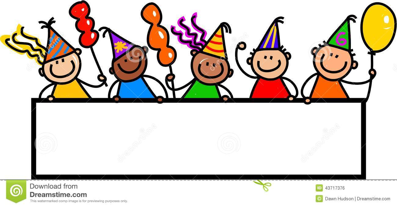 Whimsical Cartoon Illustration Of A Group Happy And Diverse Birthday Party Children Standing Around Blank Page Banner
