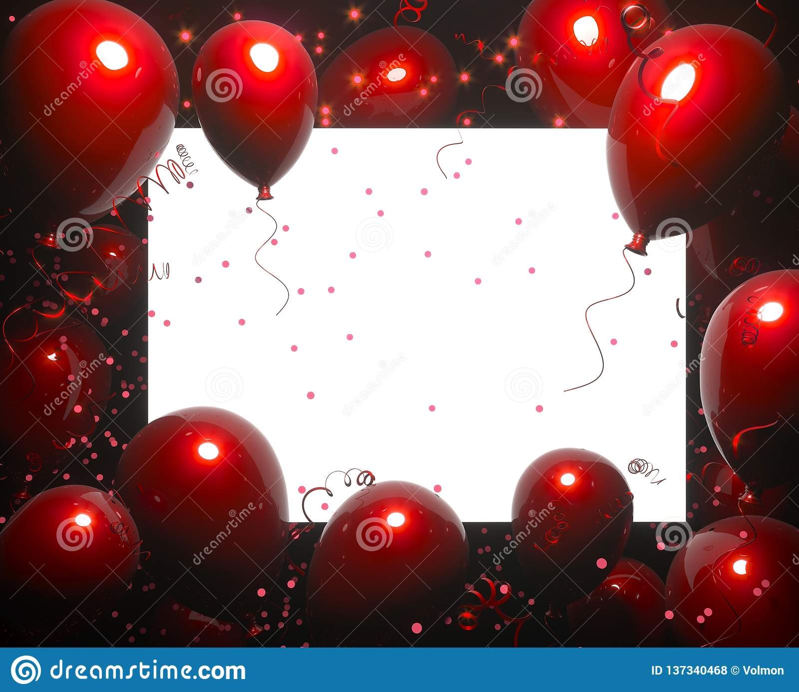 Party Banner With Red Balloons On Black Background And Place For Text Happy Birthday Cards Design Festive Or Present Stock Illustration Illustration Of Pearl Composition 137340468