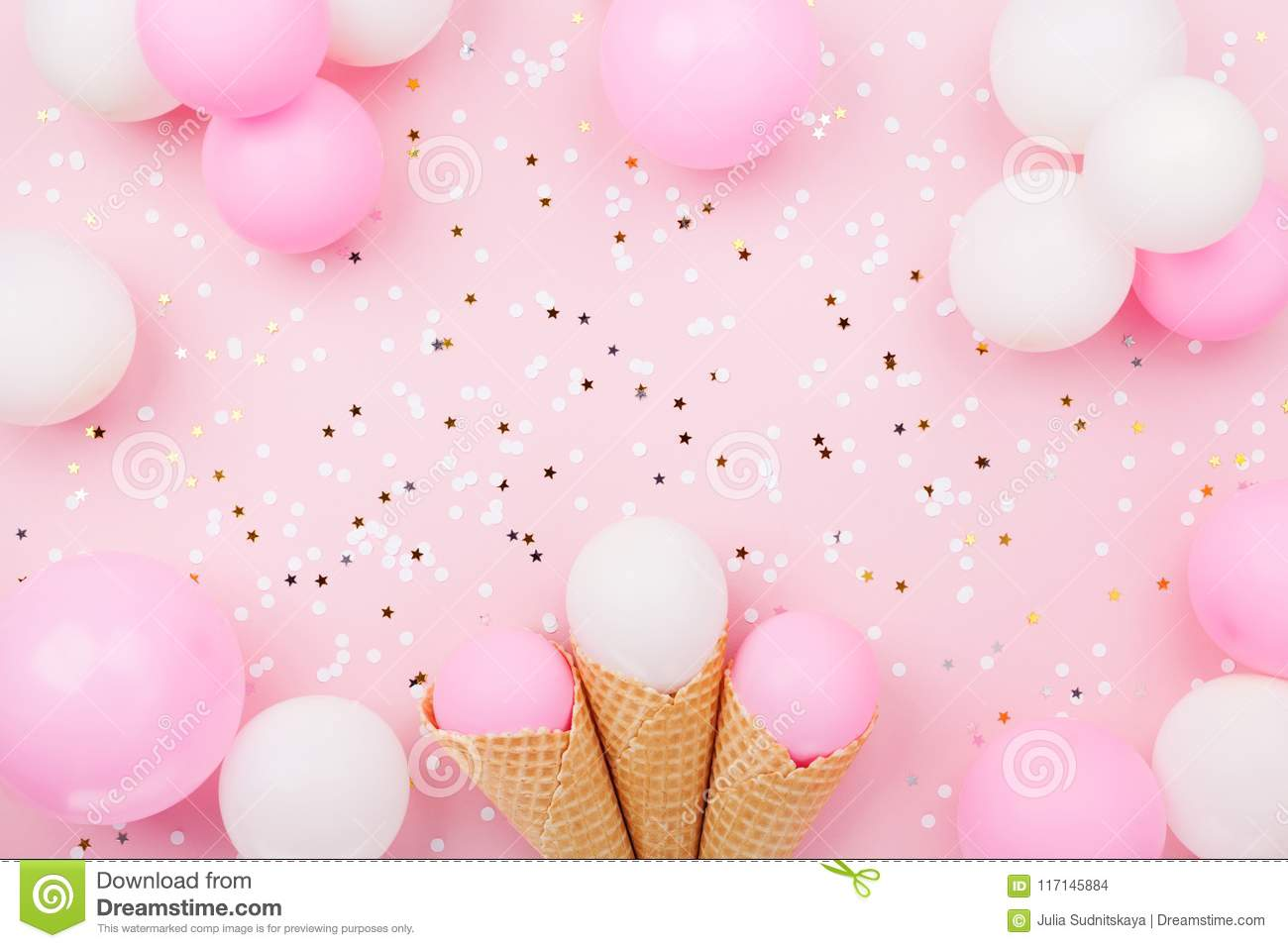 Party Or Birthday Background With Pastel Balloons And