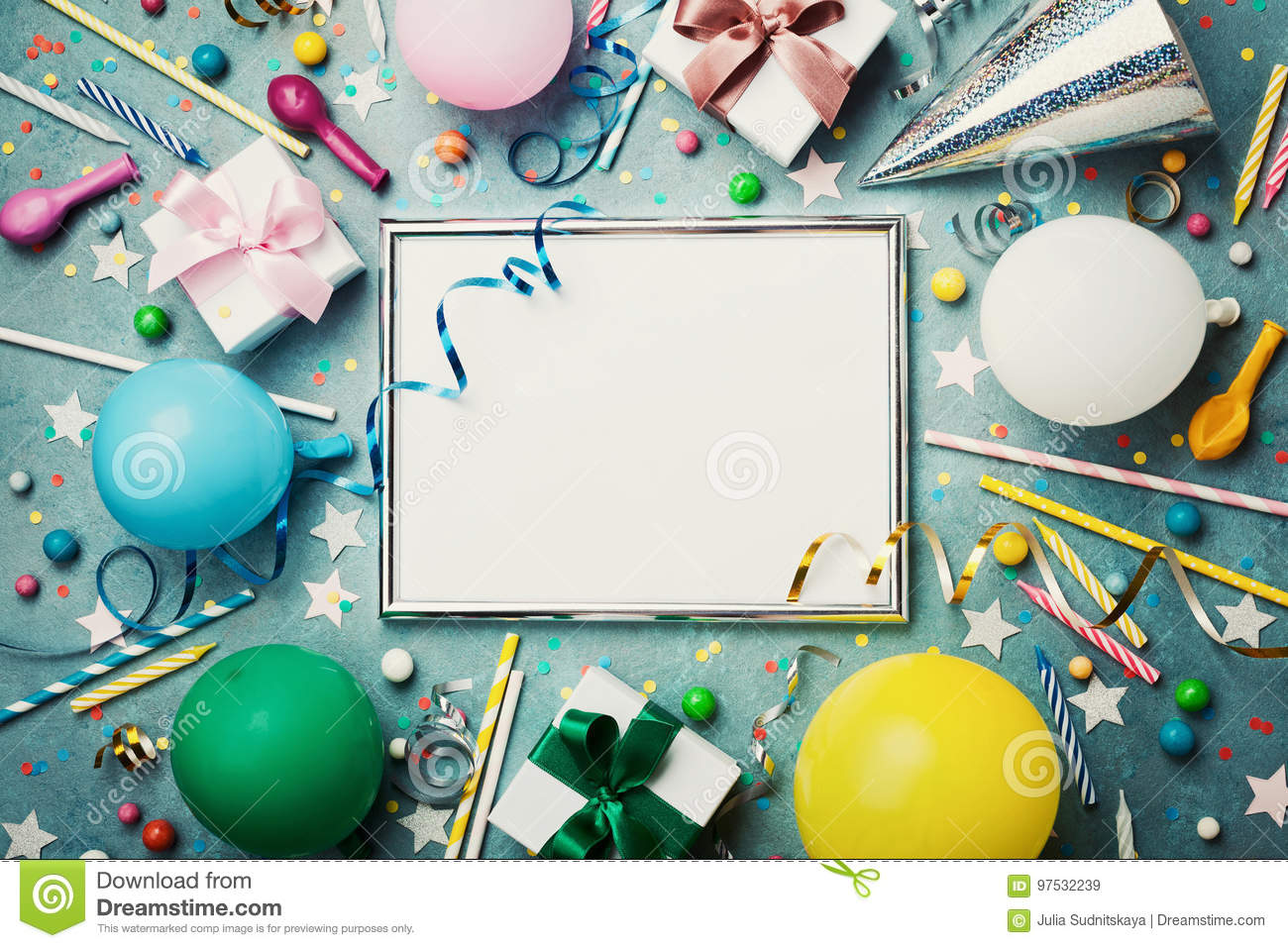 Party or birthday background. Silver frame with colorful balloon, gift box, carnival cap, confetti, candy and streamer.