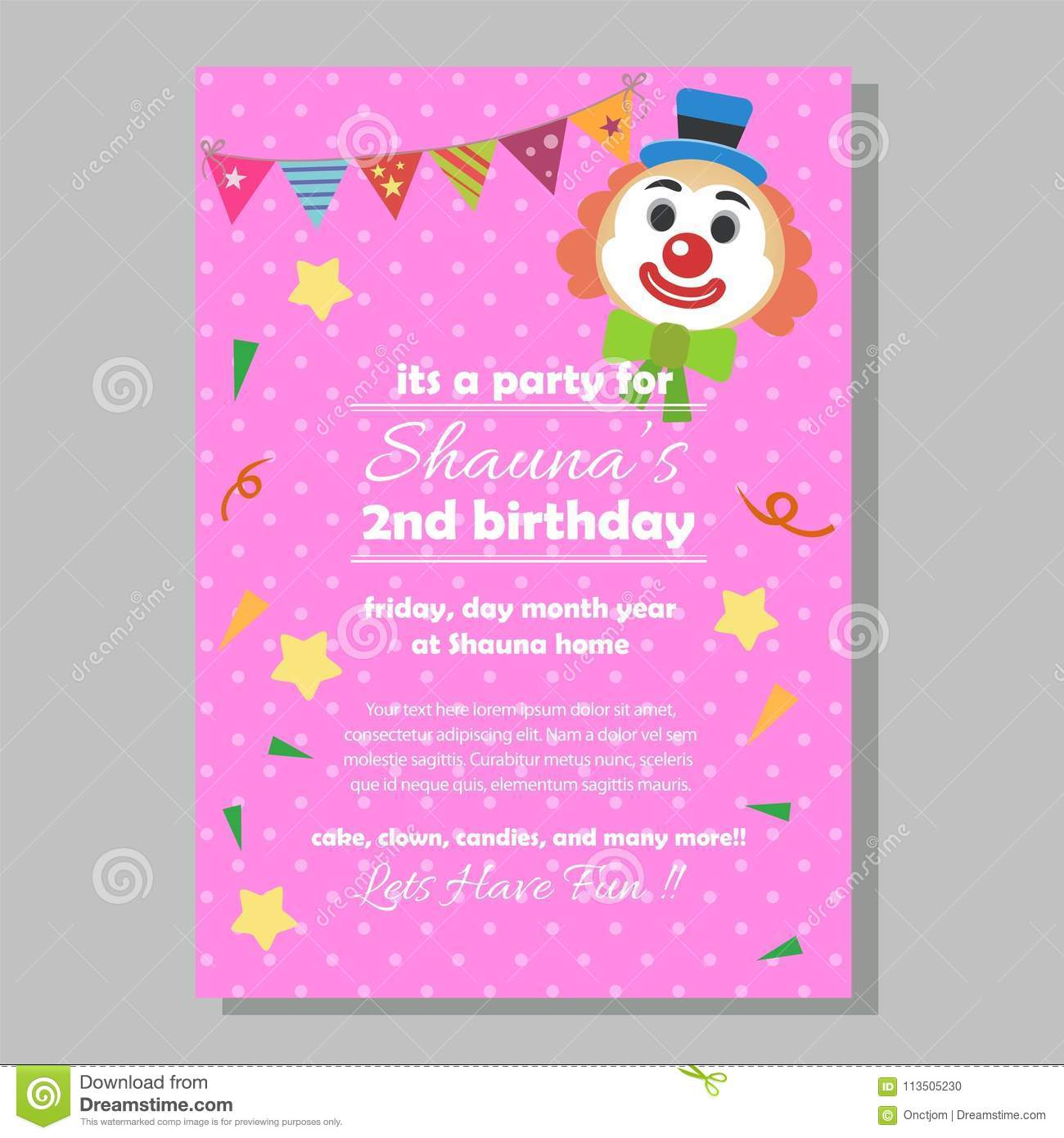 Party Birthday Invitation Template With Clown Stock Vector