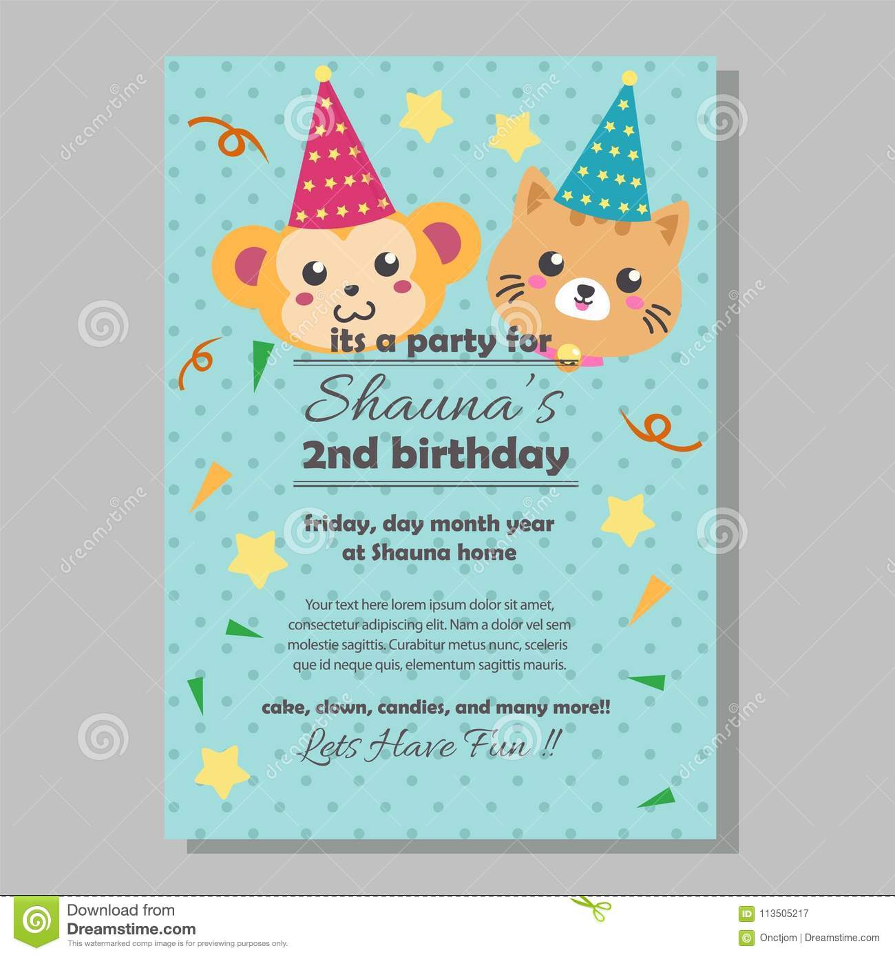 Party Birthday Invitation Template With Monkey And Cat