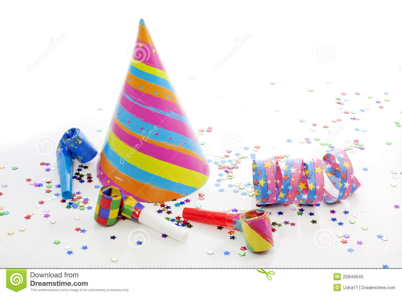 Party Birthday New Year Items Stock Image - Image of